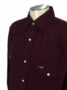 Wrangler Western Pearl Snap Shirt LT Tall Maroon Thick Work MSW04RD Mens 8709