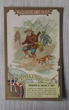 chromo victorian trade card Chocolat Ibled Recettes imperméabilité bottes chasse