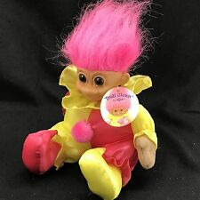 "Russ Troll Doll Troll Clown 9"" Bean Bag Plush Pink Yellow Jester"