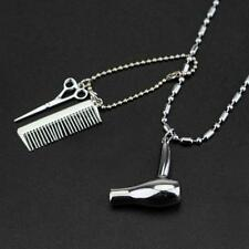 HAIR DRESSER STYLIST CHARM NECKLACE Metal Pendant Scissors Comb Blow Dryer Chain