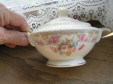 Warwick Sugar Bowl w/ Lid cream colored w/ gold Trim and flowers