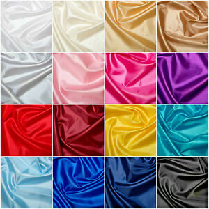 Plain Coloured Habotai Silk Lining Fabric 100% Polyester 145cm Wide FREE P&P