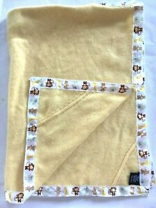 Yellow Cashmere Baby Blanket Layette Animals Ribbon Trim Soft Thin Dry Clean