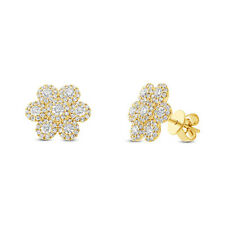 Huggie Flower Earring Natural G Si1 0.95Ct 14K Yellow Gold Diamond Stud