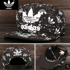 Embroidered Adidas Trefoil Flat Cap Black / White Splatter :One Size Fits Most