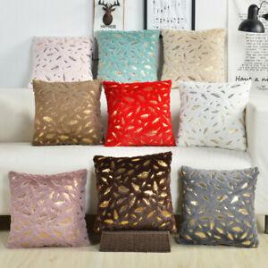 Short Plush Bronzing Feather Print Pillowcase Soft Seat Case Cushion Cover Decor