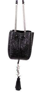 SAINT LAURENT Black Metallic Glitter Leather Logo Mini BOURSE Bucket Bag