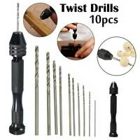 10pcs Mini Micro Twist Drill Bits Set + Hand Pin Vise Tool for Wood Jewelry DIY