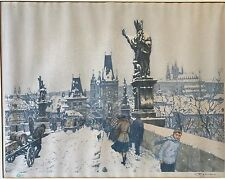 Tavik Frantisek (T.F.) Simon Etching Charles Bridge Prague Signed # 347 1916