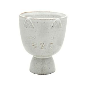 Speckled Grey Stoneware Indoor Planter, Small Cat Face Plant Pot, Sass & Belle