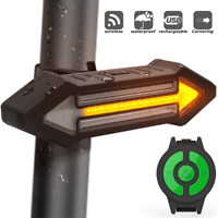 USB Rechargeable Bicycle Tail Light LED Warning Wireless Remote Control Lamp NEW