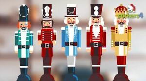 5 Colourful Christmas Nutcracker Soldiers Xmas Glass Window Clings