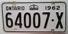 Ontario 1962 License Plate # 64007-X