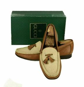 Gucci Men's Leather & Canvas Loafers With Tassels Loafers Shoes Size 11.5 EU 45