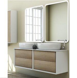 Mobile arredo bagno moderno Bellagio doppio lavabo d'appoggio 140x46 sospeso 16