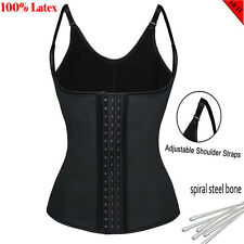 Women Latex Full Control Waist Trainer Cincher Body Shaper Steel Bone Underbust
