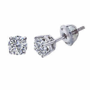 1/2 Carat Round Brilliant Cut Stud Earrings Solid 14k Real White Gold Screw Back