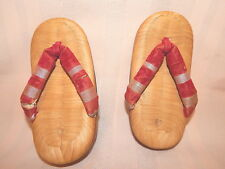 "2 Vintage Japanese Child Geta Clogs/Shoes/Sandals Straw/Cloth 6.5"" FREE SHIP!!"
