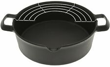 Iwachu 410-185 Cast Iron Tempura and Deep-Fry Pan with Wire Rack, Large, Black â