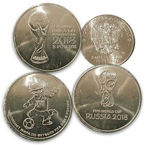 Russia 2018 FIFA World Cup Football Commemorative 25 Rubles Set of 3 UNC Coin