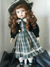 """Seymour Mann Collectible Doll ~ Green/white Plaid Dress - 14"""" Very Nice! LOOK!!!"""