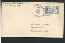 AMERICA, ALABAMA COVER,1938, 5CT ARMY SERIES USED ON COMMERICAL COVER.