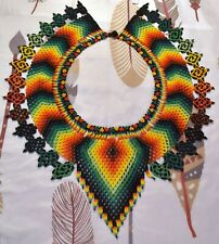 Native Handmade Medicine Necklace Glass Seed Beads Colombian Ceremonial Beadwork