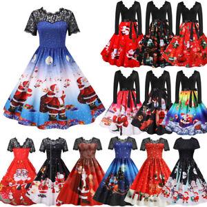 Weihnachten Damen Weihnachtskleid Rockabilly Swing Skaterkleid Xmas Partykleid