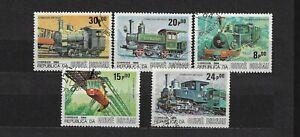 GUINE-BISSAU SET USED 1984 RAILROAD LOCOMOTIVE TRAIN.