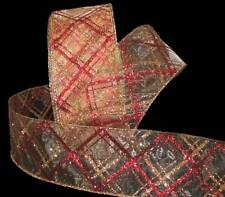 """5 Yards Christmas Red Gold Glitter Plaid Sheer Wired Ribbon 2 1/2""""W"""