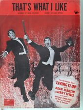 That's What I Like 1953 Living it Up Dean Martin Jerry Lewis Sheet Music
