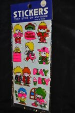 Vintage PUFFY Stickers Play Tennis Shaggy Hair HIPPIES Boy Girl Sealed! RARE