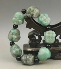 Chinese natural jadite hand-carved bracelet jade buddha beads bangle AAAA