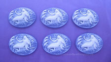 6 Fantasy WHITE MERMAID on PURPLE 25mm x 18mm Costume Jewelry Craft CAMEOS