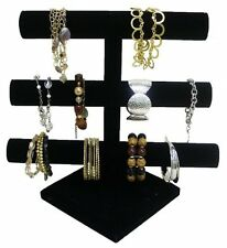 Black Velvet 3 Tier Bracelet Necklace Jewelry Organizer Display Holder Stand