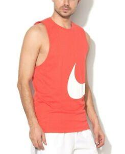 Men's New Nike Swoosh Logo Vest Tank Top Sleeveless T-Shirt Singlet - Coral Red