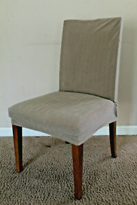 SureFit Stretch Pinstripe Shorty Dining Room Chair Slipcover Taupe Used 1 Month