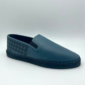 Bottega Veneta Men's Blue/Black Leather Woven Slip On Shoe 407387 4435