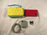 Nintendo DSi Red Handheld Game Console with Sponge Bob Case and Metroid Game