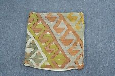 "Vintage Turkish Kilim Pillow Cushion Hand Woven Wool 14"" x 14"" Zipper Top"
