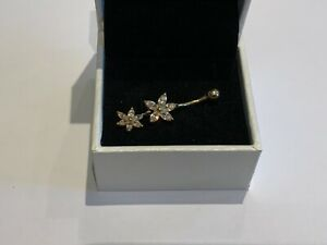 Real 375 9ct Gold & Double Hanging Clear CZ Crystal Flowers Ball End Belly Bar