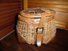 OLD WICKER FISH BASKET WITH TRIM