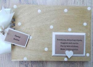 Personalised Newborn Baby Girl Wooden Scrapbook Photo Album Guest Book Gift