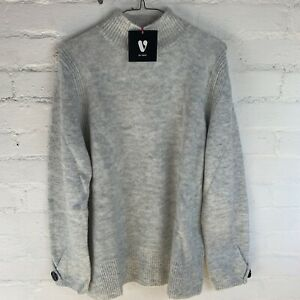 V by Very Grown On Neck Button Cuff Jumper Grey Marl UK18 RRP£32