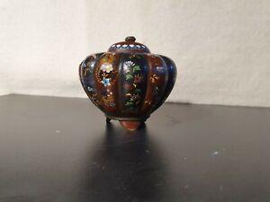 Vase Boite Cloisonné Bronze Ancien Japon ? Chine ? Ancien XIXème