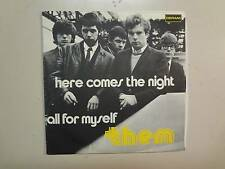 """THEM: (w/Van Morrison)Here Comes The Night-All For Myself-Italy 7"""" 65 Deram PSL"""