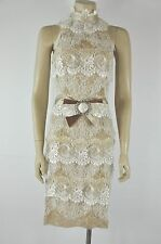 Dolce & Gabbana Beige  Lace Sleeveless Embellished Buckle Dress Size 38