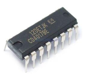 5 x CD4017 Decade Counter / Divider DIP16 CD4017BE CMOS IC