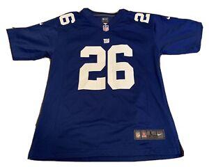 NIKE NFL ON FIELD NEW YORK GIANTS SAQUON BARKLEY JERSEY SIZE YOUTH L (14-16)