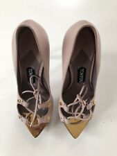 Auth Tom Ford Metal toe Gold And Blush Heels Shoes Sz 37.5